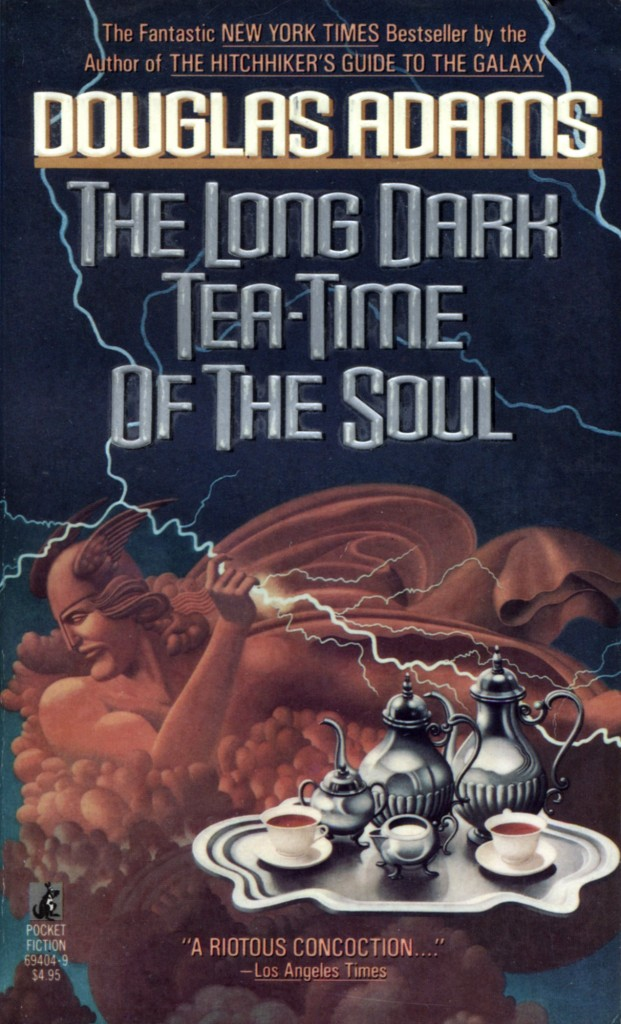 """The Long Dark Tea-Time of the Soul"" by Douglas Adams."