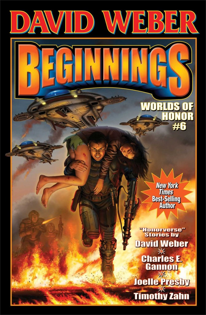 """Beginnings"" by David Weber, Charles E. Gannon, Joelle Presby, and Timothy Zahn."