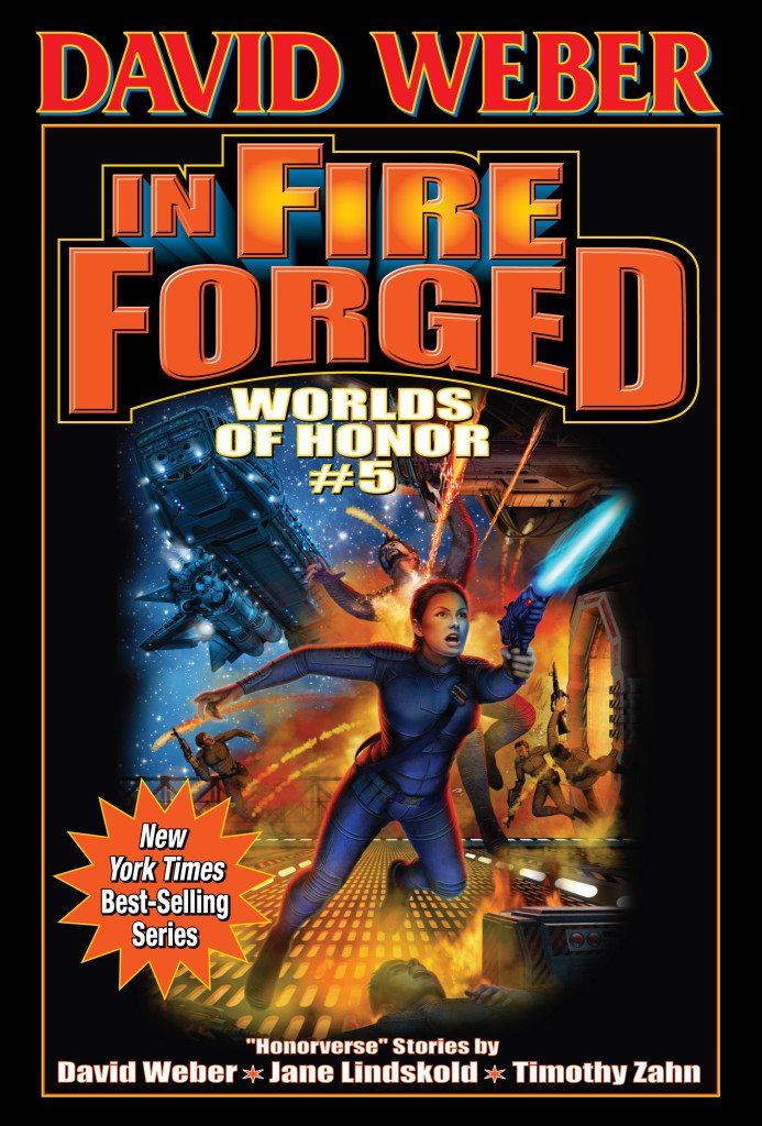 """In Fire Forged"" by David Weber, Jane Lindskold, and Timothy Zahn."